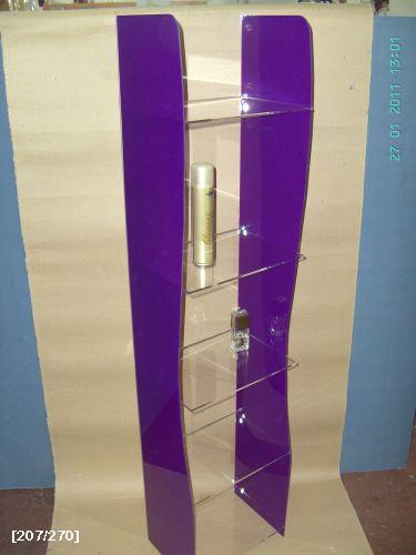 σταντ από plexiglass με μωβ πλαϊνά