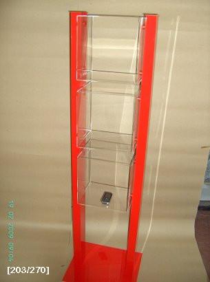 plexiglass stand με κόκκινο-πορτοκαλί